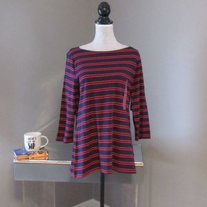 NEW Merona Navy Blue & Red Striped Boat Neck Tee